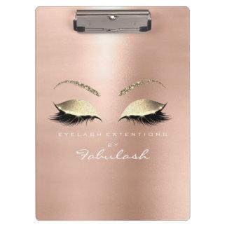 Porte-bloc Blanc rose d'or de mèches de studio de beauté de
