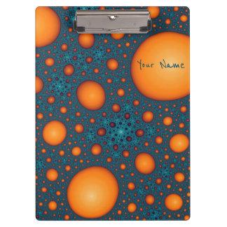 Porte-bloc Bulles oranges. Ajoutez votre texte de nom ou de