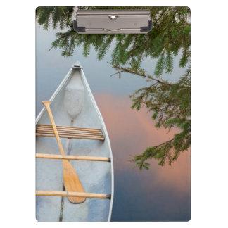 Porte-bloc Canoë sur le lac au coucher du soleil, Canada