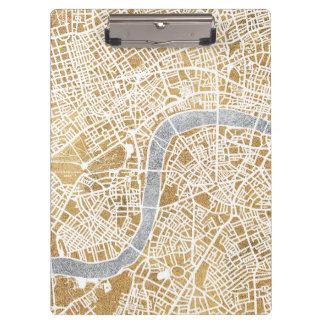 Porte-bloc Carte dorée de ville de Londres