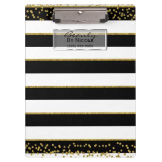 Porte-bloc Charme chic élégant noir d'or blanc personnalisé