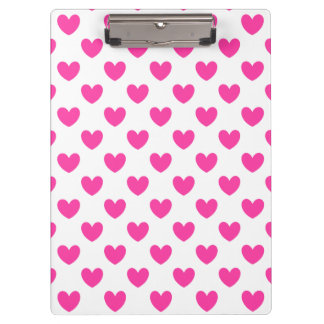 Porte-bloc Coeurs roses fuchsia de polka sur le blanc