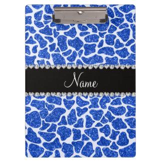 Porte-bloc Copie bleue nommée faite sur commande de girafe de
