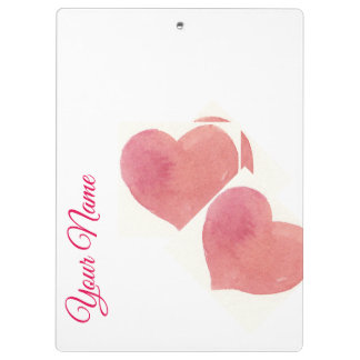 Porte-bloc Coutume douce de coeur d'aquarelle de rose rose de