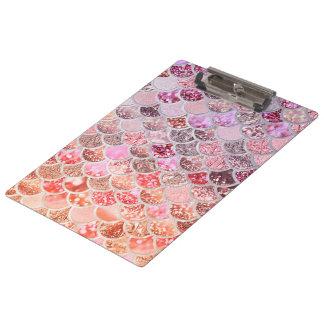 Porte-bloc Échelles de poissons roses à la mode de sirène de