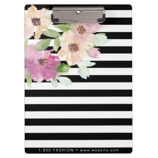 Porte-bloc Fleurs et rayures d'aquarelle