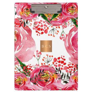Porte-bloc Floral blanc rose métallique d'en cuivre d'or de
