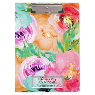 Porte-bloc Floral coloré lumineux d'aquarelle personnalisé