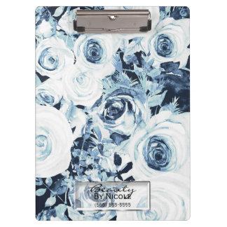 Porte-bloc Floral moderne fascinant de roses bleus et blancs