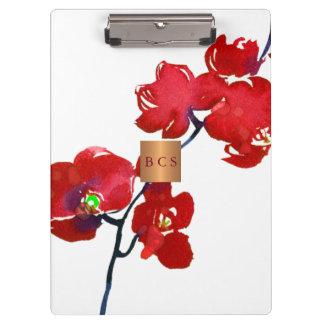 Porte-bloc Floral rouge de corail métallique d'en cuivre d'or