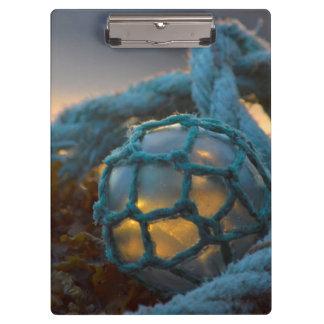 Porte-bloc Flotteur en verre de pêche, coucher du soleil,