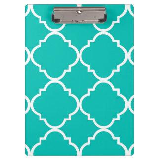 Porte-bloc Grand motif blanc turquoise de Quatrefoil