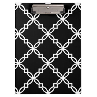 Porte-bloc Grand motif de fantaisie blanc noir de Quatrefoil