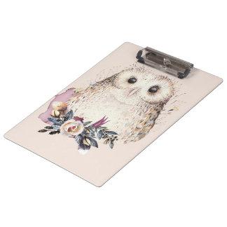 Porte-bloc Illustration animale de Boho de hibou en pastel