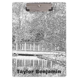 Porte-bloc Jardin noir et blanc avec le bel étang