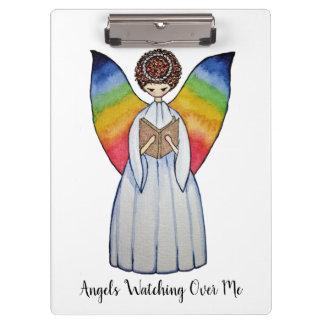 Porte-bloc L'ange d'aquarelle avec l'arc-en-ciel s'envole