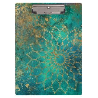 Porte-bloc Mandala turquoise affligé de grunge d'or