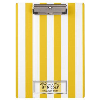Porte-bloc Moderne jaune et blanc lumineux de rayures