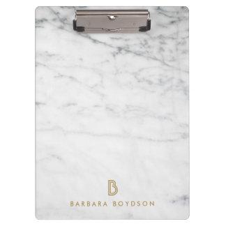 Porte-bloc Monogramme de marbre blanc minimaliste d'or