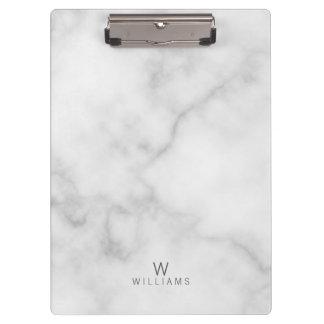 Porte-bloc Monogramme de marbre blanc minimaliste moderne