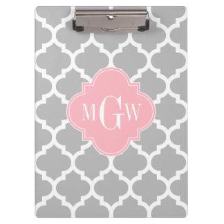 Porte-bloc Monogramme initial du rose #5 3 de blanc gris