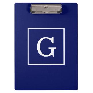 Porte-bloc Monogramme initial encadré par blanc de bleu