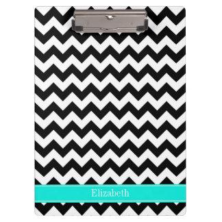 Porte-bloc Monogramme lumineux de nom d'Aqua de zigzag blanc