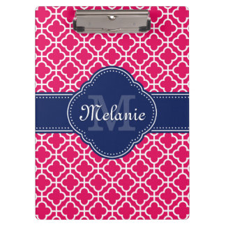 Porte-bloc Monogramme marocain blanc rose de marine de motif
