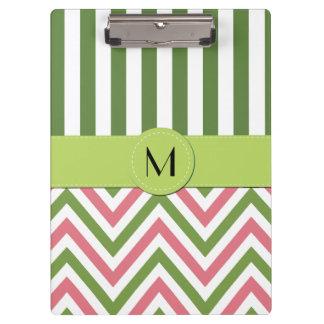 Porte-bloc Monogramme - motif de zigzag, Chevron - rose vert
