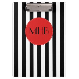 Porte-bloc Monogramme - rayures, lignes parallèles - noir