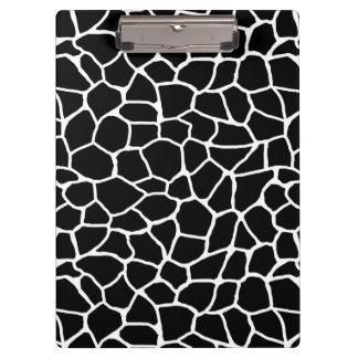 Porte-bloc Motif animal d'impression noir et blanc de girafe