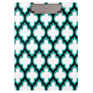 Porte-bloc Motif blanc noir turquoise #4DS de Quatrefoil de