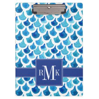 Porte-bloc Motif bleu d'échelle d'aquarelle