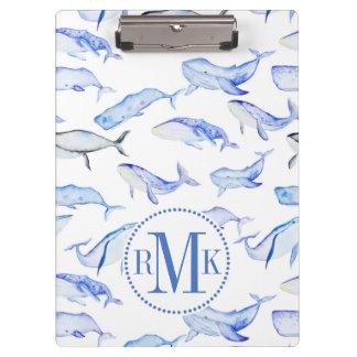 Porte-bloc Motif de baleine bleue d'aquarelle