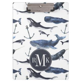 Porte-bloc Motif de baleine et d'ancre d'aquarelle