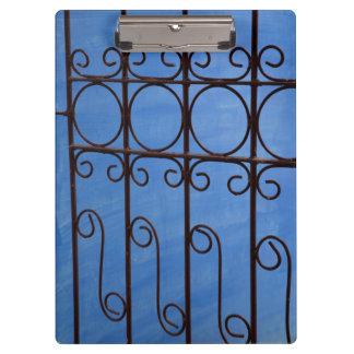 Porte-bloc Motif de porte de fer dans le bleu, Cuba