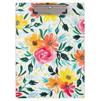 Porte-bloc Motif jaune rose floral d'aquarelle fraîche