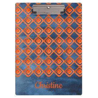 Porte-bloc Motif orange d'aquarelle de bleu marine