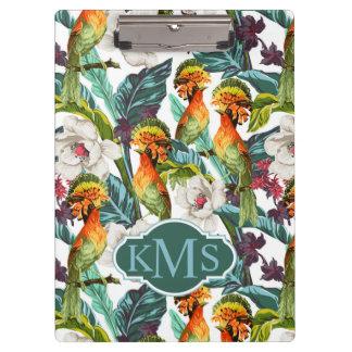 Porte-bloc Oiseau et monogramme exotique du motif de fleur  