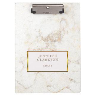Porte-bloc Or de luxe et personnel en pierre de marbre blanc