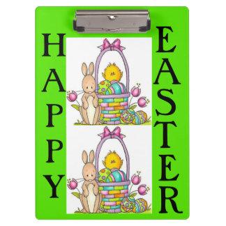 Porte-bloc Panneau d'agrafe heureux de lapin de Pâques