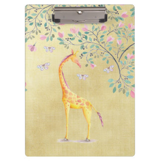 Porte-bloc Papillons et fleur de girafe d'aquarelle