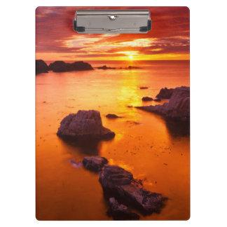 Porte-bloc Paysage marin orange, coucher du soleil, la