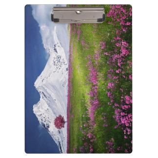 Porte-bloc Paysage pourpre de fleurs d'herbe de montagnes de