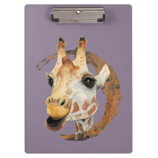 Porte-bloc Peinture de girafe avec le cadre de cercle d'or de