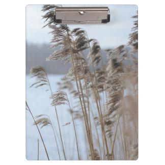 Porte-bloc Photo pittoresque paisible d'herbe de lac winter