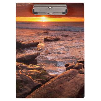 Porte-bloc Piscines de marée au coucher du soleil, la