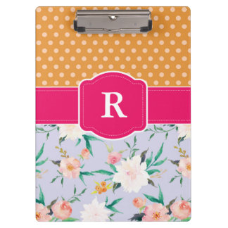 Porte-bloc Point de polka orange et porte - bloc floral rose