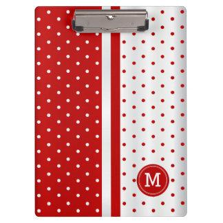 Porte-bloc Pois rouge et blanc - monogramme