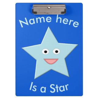 Porte-bloc Porte - bloc bleu lumineux de coutume d'étoile de